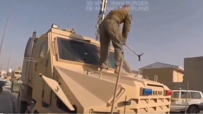 Footage Emerges Showing US Troops Frantically Smashing Equipment Before Leaving Kabul [VIDEO]