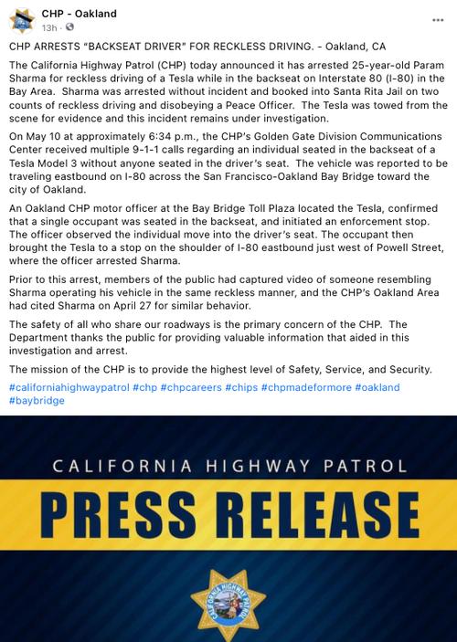 Reckless Backseat Tesla Owner Arrested On California Highway 2