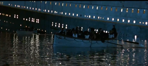 Lifeboat in front of sinking Titanic