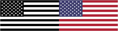 US flag, colour and monotone