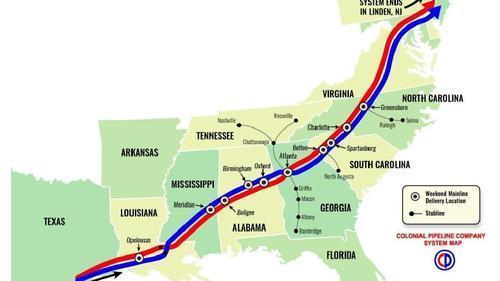 """Gas Run Has Begun"" - Fuel Stations Run Dry Amid Hacked Pipeline Colonialpipelinemap_0"