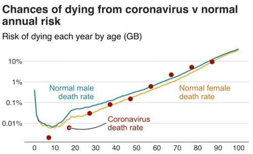 covid deathrate vs normal deathrate