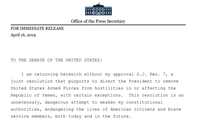 Trump Issues His Second Veto, Blocking Congressional Resolution To End US Support For Saudi-Led War In Yemen